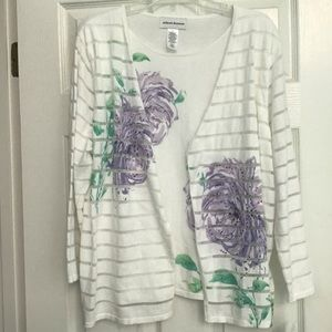 ALFRED DUNNER Roman Holiday Sweater PurpleWhite XL